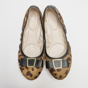 Cole Haan leopard print leather bow gold flats